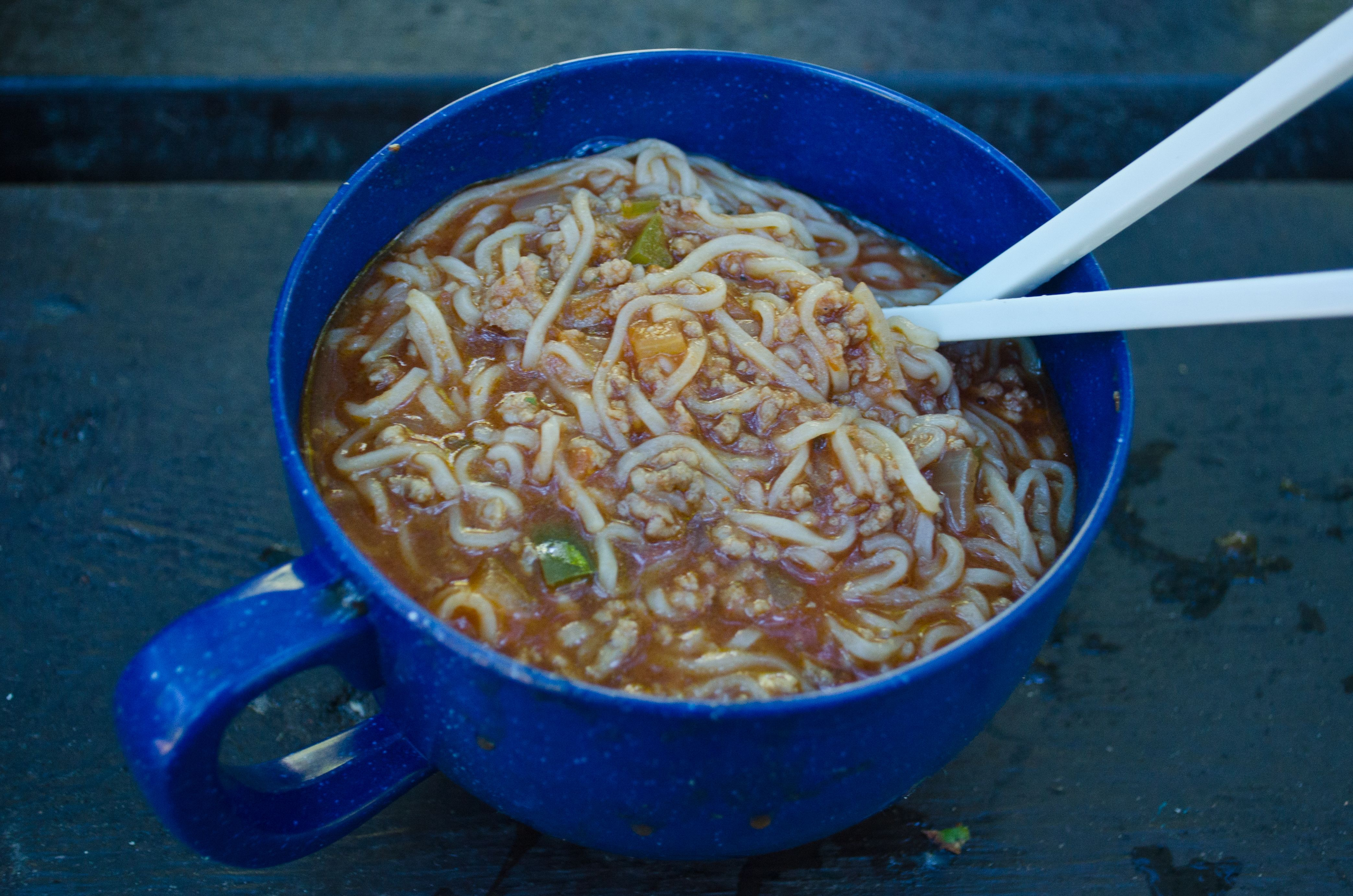 Sriracha Sloppy Joe ramen - Camping at Killbear
