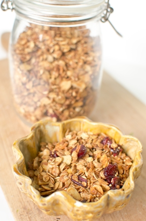 Homemade Granola w/Peanuts & Quinoa.  Bowl by Clayshapes on etsy.