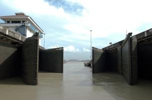 """Enter, friend"" - Miraflores lock, Panama Canal"